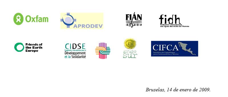 Carta de las ONGs Internacionales a las autoridades europeas: Preocupación por las negociaciones del AdA Unión Europea, Enero 09