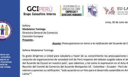 Perú: Carta a la Comisión Europea sobre la ratificación del Acuerdo de Escazú